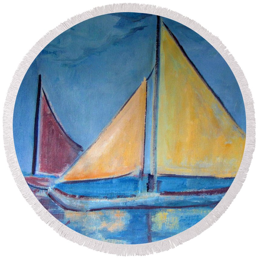 Sail Boats Round Beach Towel featuring the painting Sailboats With Red And Yellow Sails by Betty Pieper