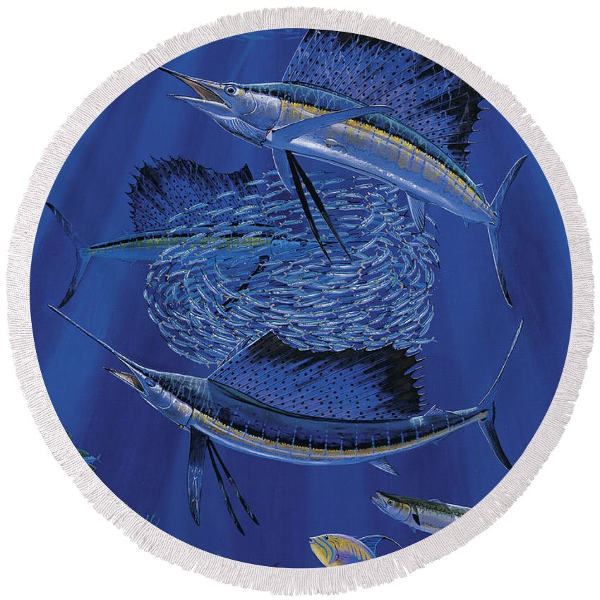 Sailfish Round Beach Towel featuring the painting Sailfish Round Up Off0060 by Carey Chen