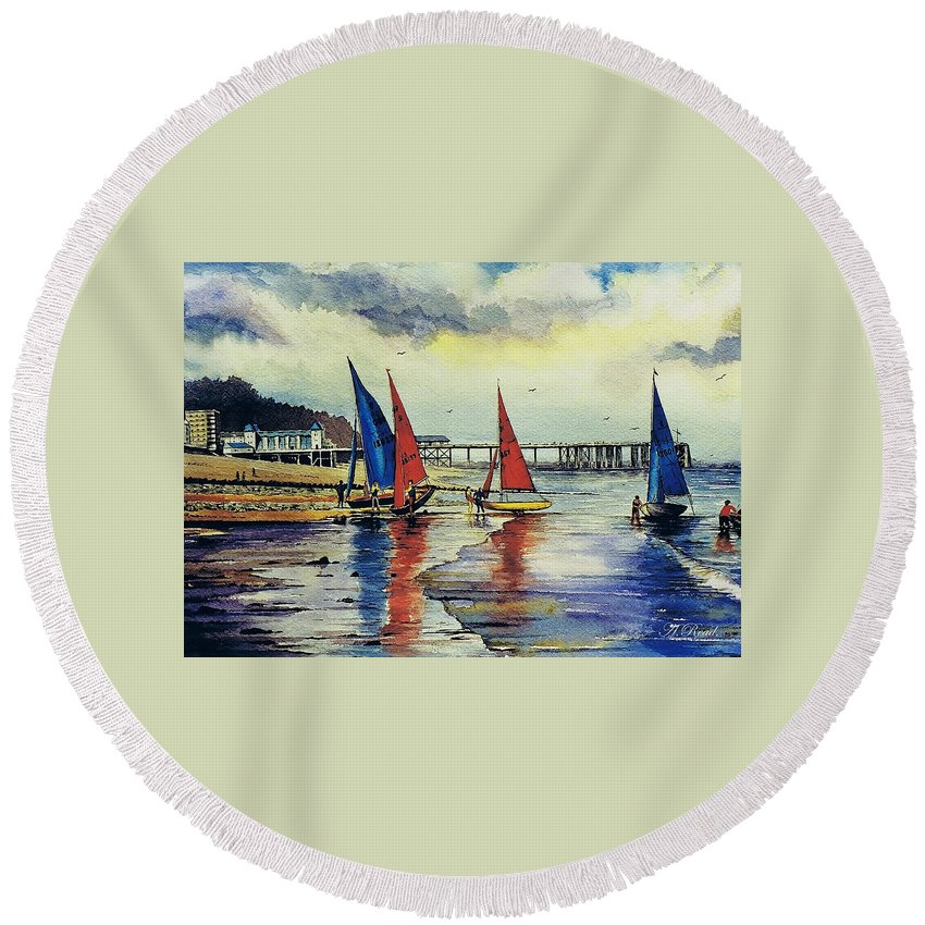 Sailing Round Beach Towel featuring the painting Sailing At Penarth by Andrew Read