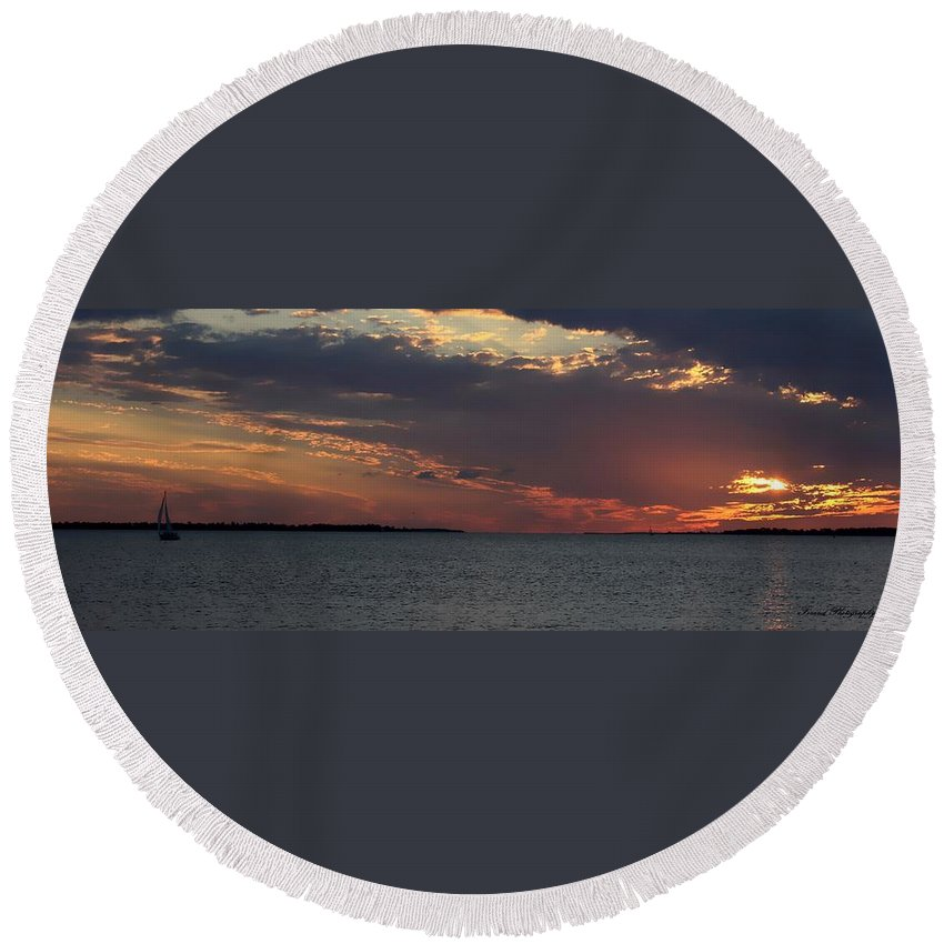 Sunset Round Beach Towel featuring the photograph Sailing At Sunset by Debra Forand