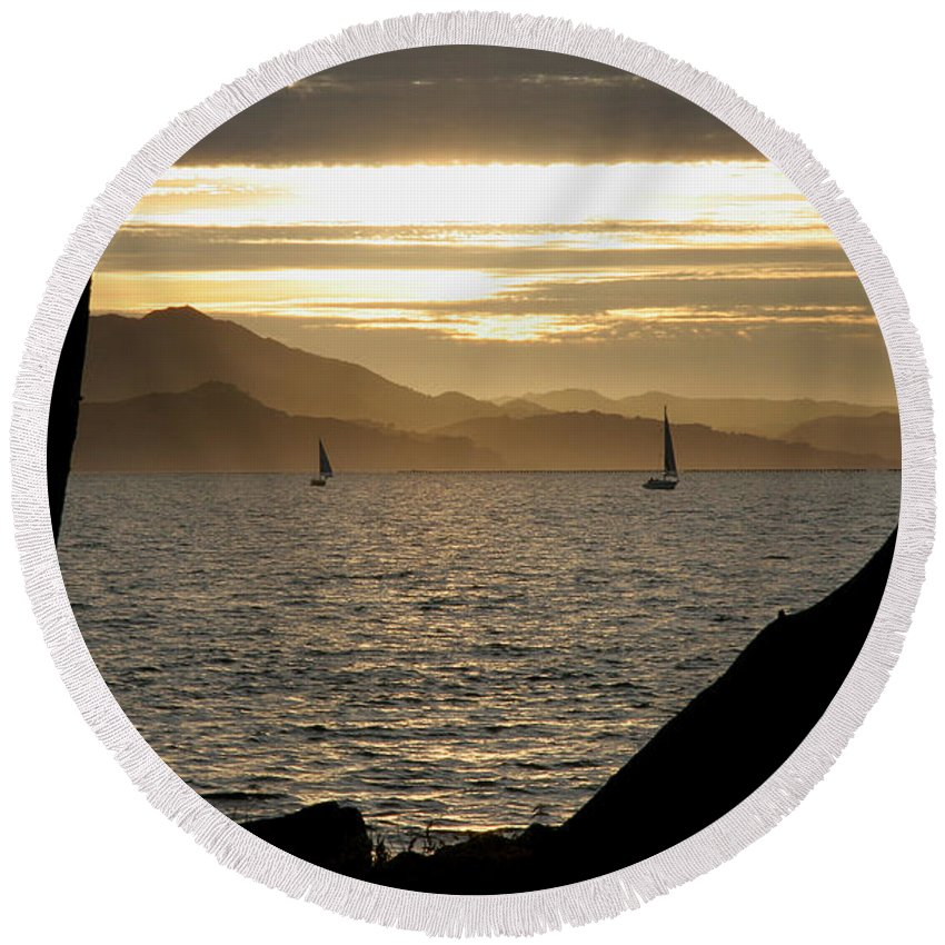 San Francisco Round Beach Towel featuring the photograph Sailing At Sunset On The Bay by Robert Woodward