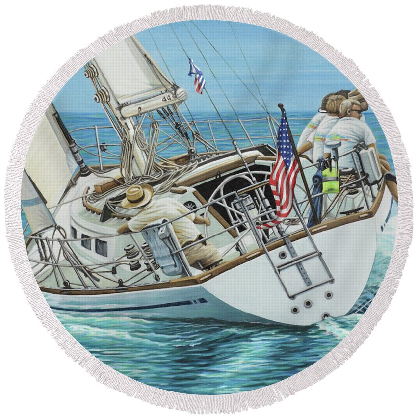 Ocean Round Beach Towel featuring the painting Sailing Away by Jane Girardot