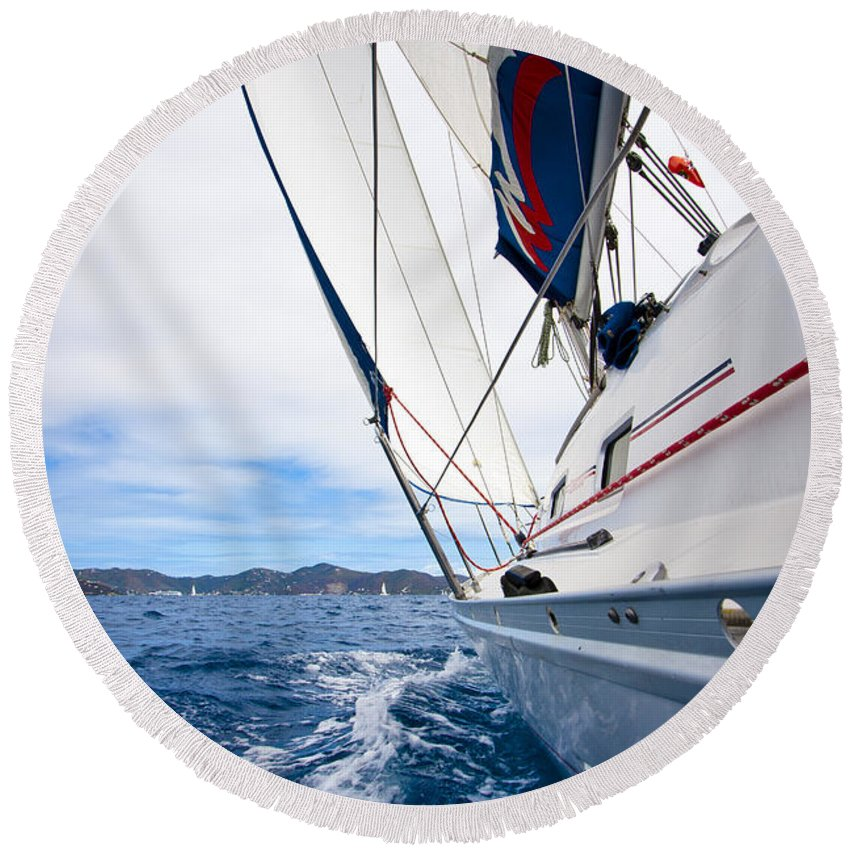 3scape Round Beach Towel featuring the photograph Sailing Bvi by Adam Romanowicz
