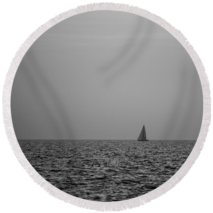 Sailboat Round Beach Towel featuring the photograph Sailing Bw by Ivan Slosar