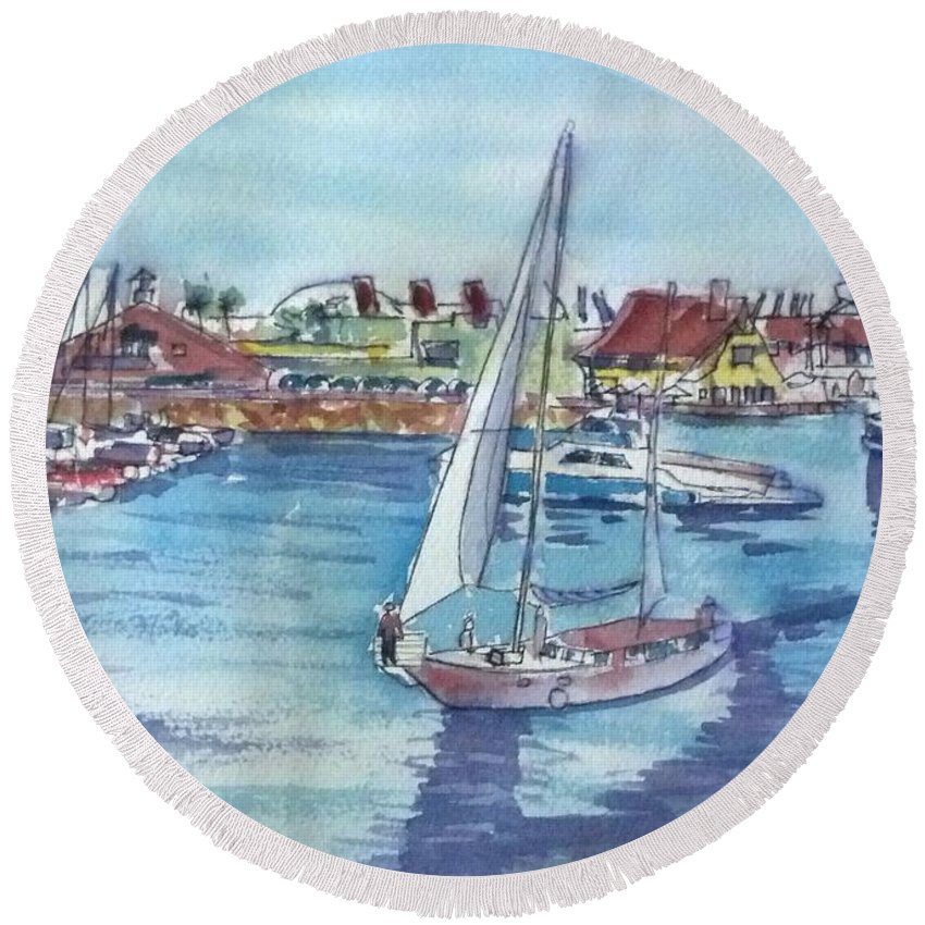 Watercolor Landscape Round Beach Towel featuring the painting Sailing By Shoreline Village by Debbie Lewis