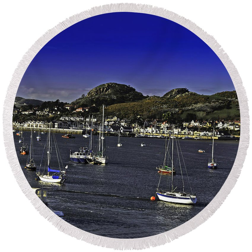 Travel Round Beach Towel featuring the photograph Sailing Conwy Harbor by Elvis Vaughn