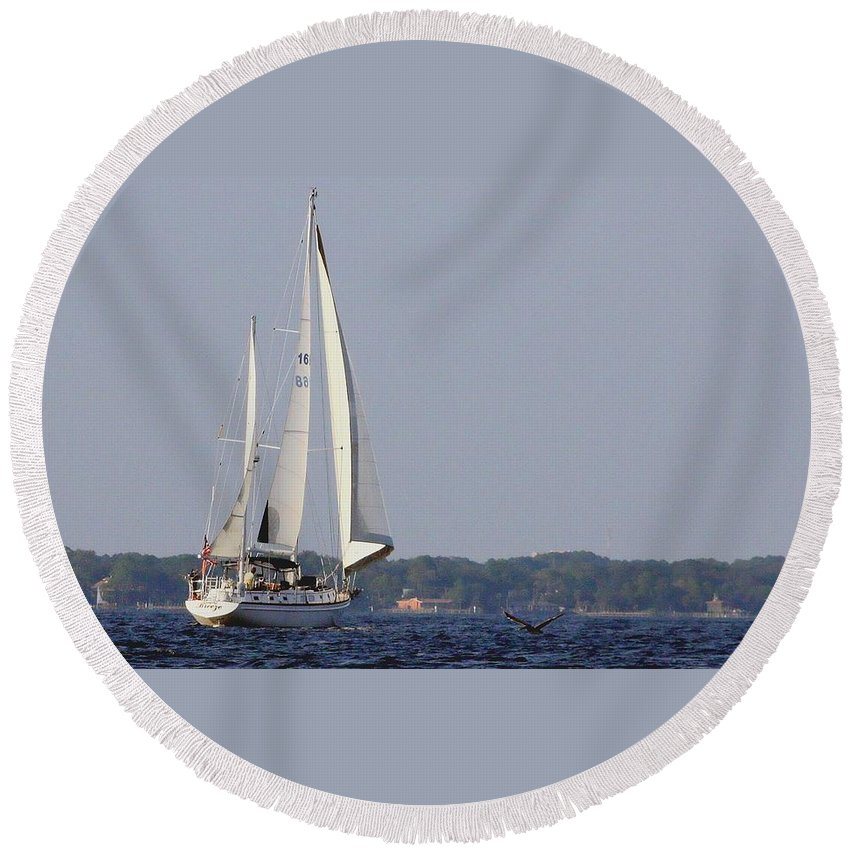 Florida Round Beach Towel featuring the photograph Sailing by Debra Forand