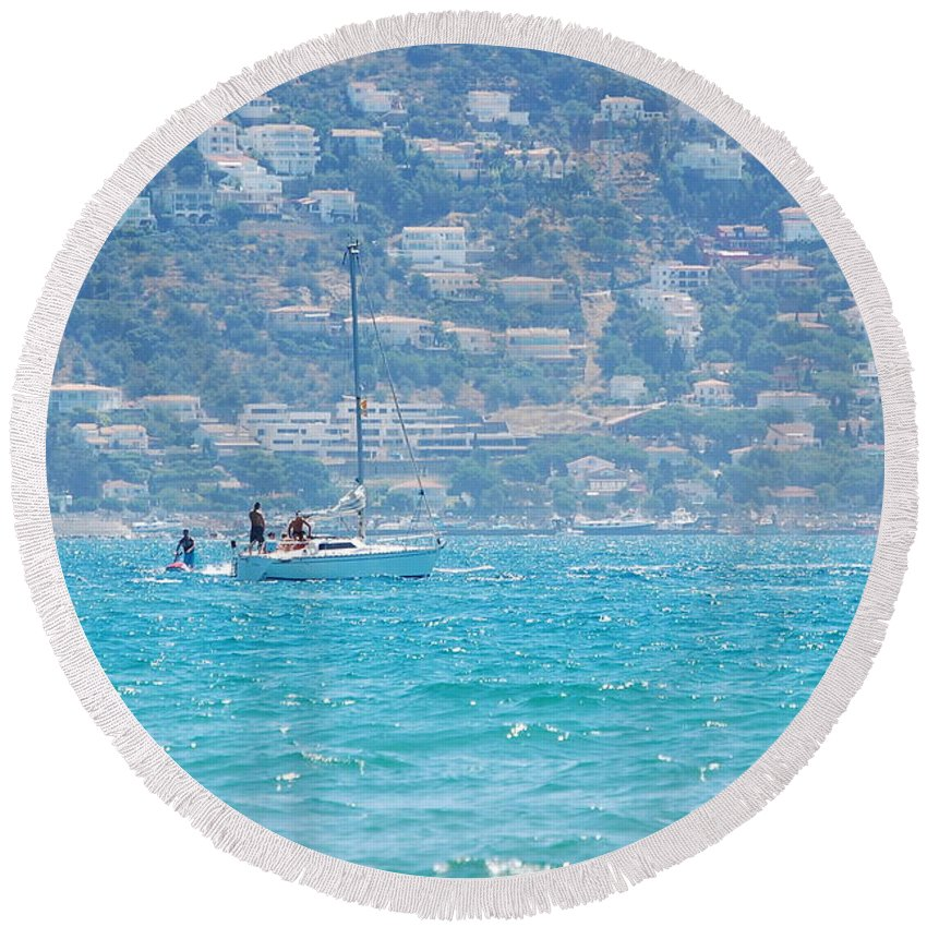 Sail Round Beach Towel featuring the photograph Sailing by Gina Dsgn