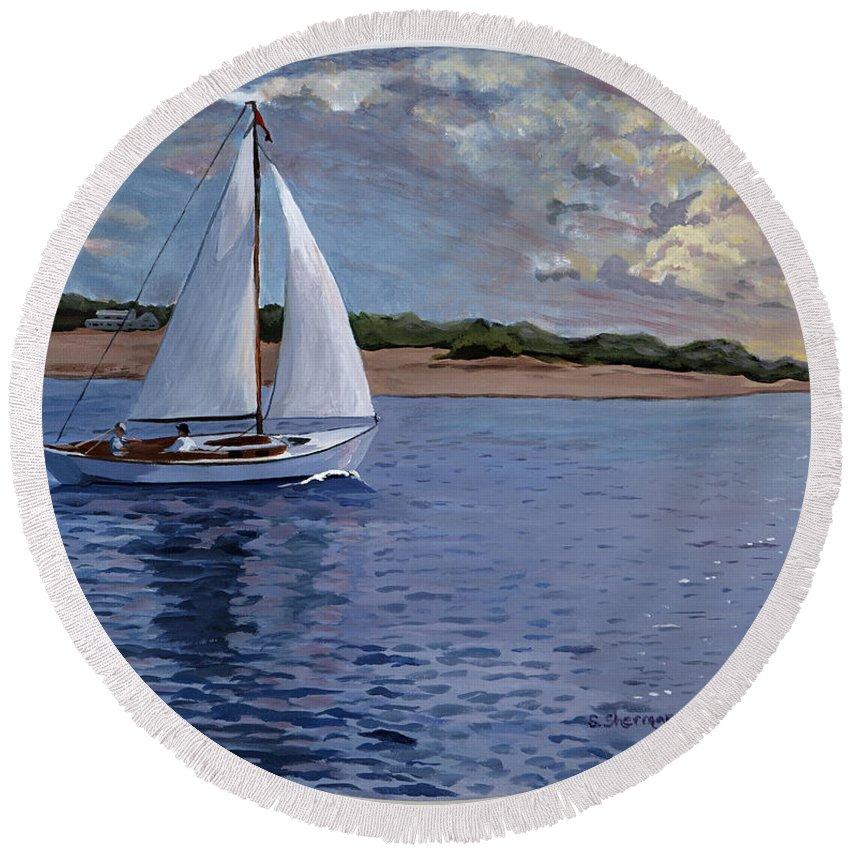 Original Round Beach Towel featuring the painting Sailing Homeward Bound by Stella Sherman