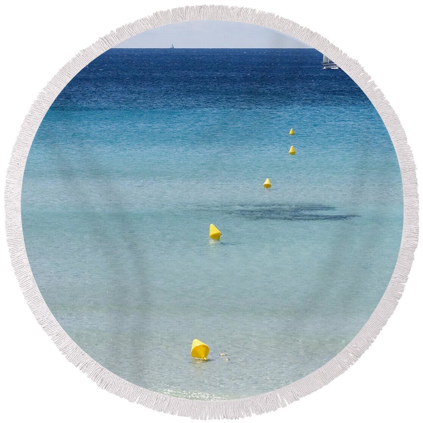 Nobody Round Beach Towel featuring the photograph Son Bou Beach In South Coast Of Menorca Is A Turquoise Treasure - Sailing In Blue by Pedro Cardona Llambias