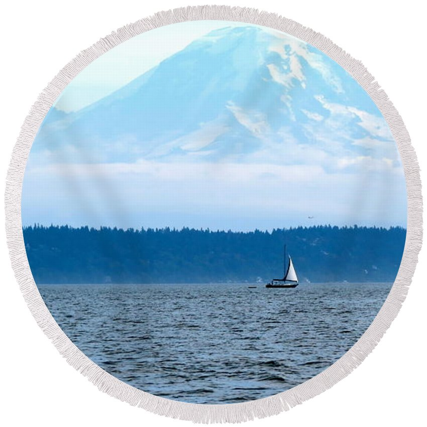 Mt. Rainier Round Beach Towel featuring the photograph Sailing In Mt. Rainier's Shadow by LeLa Becker