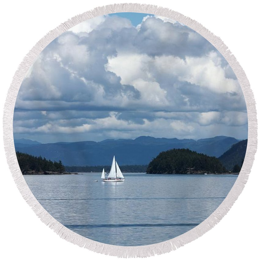 Nautical Round Beach Towel featuring the photograph Sailing In The San Juans by Carol Groenen