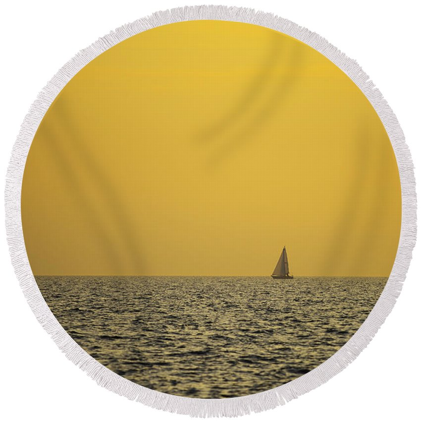 Sailboat Round Beach Towel featuring the photograph Sailing by Ivan Slosar