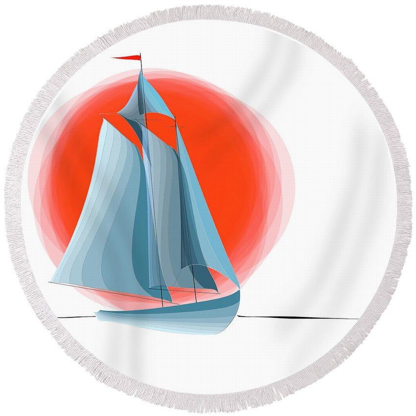 Nautical Round Beach Towel featuring the digital art Sailing Red Sun by Ben and Raisa Gertsberg