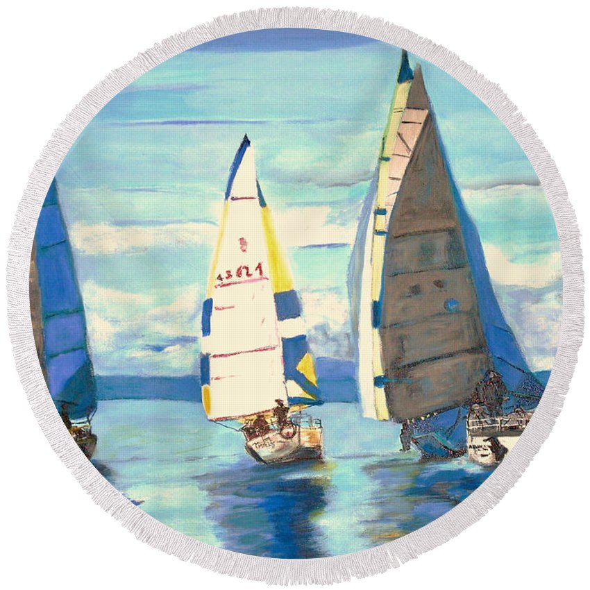 Seascape Round Beach Towel featuring the painting Sailing Regatta At Port Hardy by Teresa Dominici
