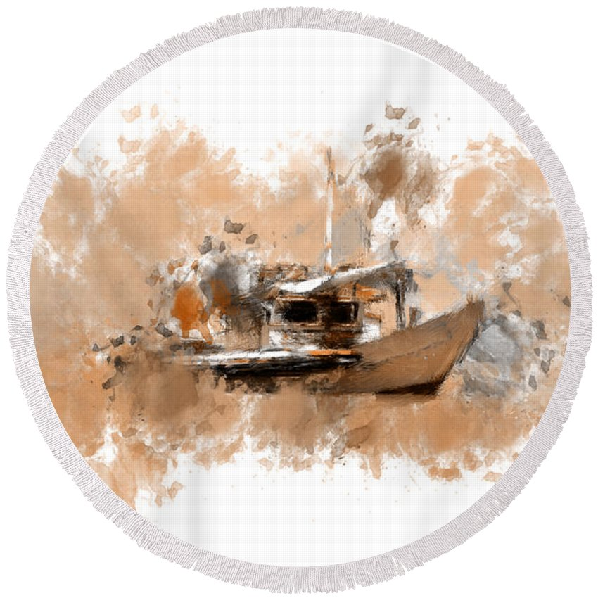 Fishing Boat Round Beach Towel featuring the digital art Sailing Time by Lourry Legarde