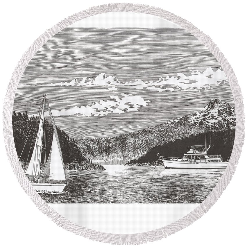 Yacht Portraits Round Beach Towel featuring the drawing Sailing Mount Hood Oregon by Jack Pumphrey