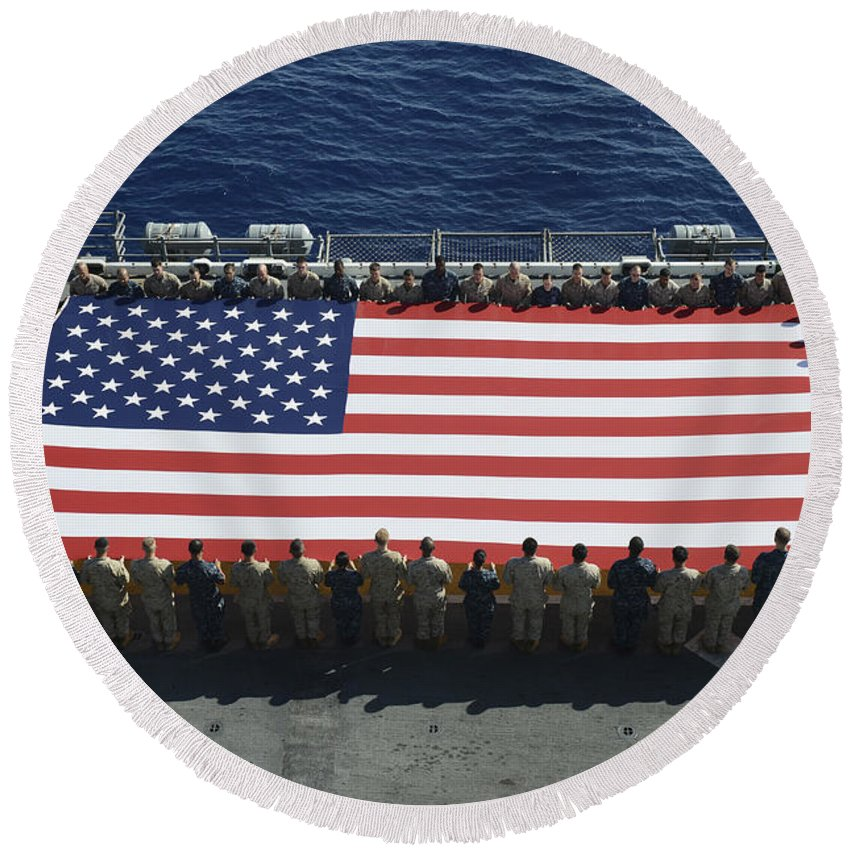 Horizontal Round Beach Towel featuring the photograph Sailors And Marines Display by Stocktrek Images