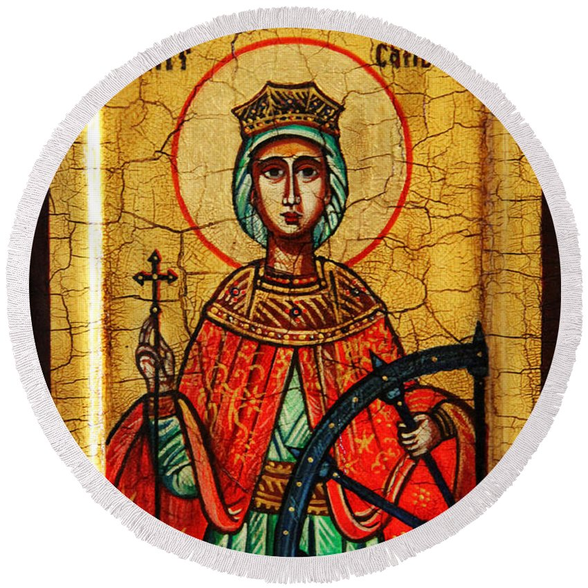 Saint Catherine Icon Round Beach Towel featuring the painting Saint Catherine Of Alexandria Icon by Ryszard Sleczka