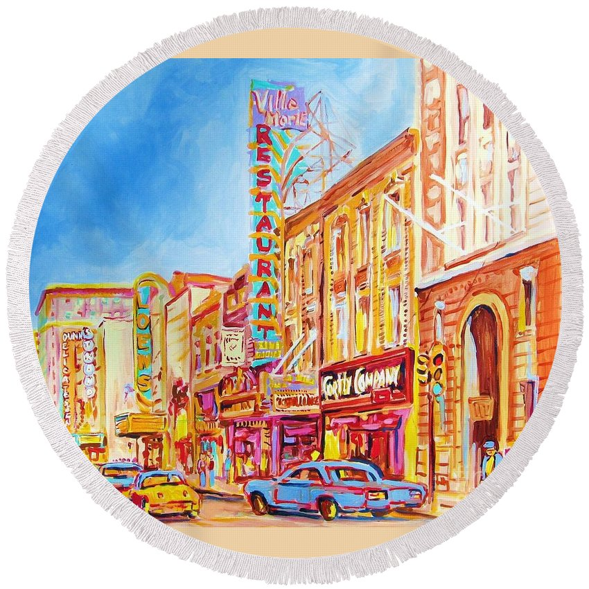 Paintings Of Montreal Round Beach Towel featuring the painting Saint Catherine Street Montreal by Carole Spandau