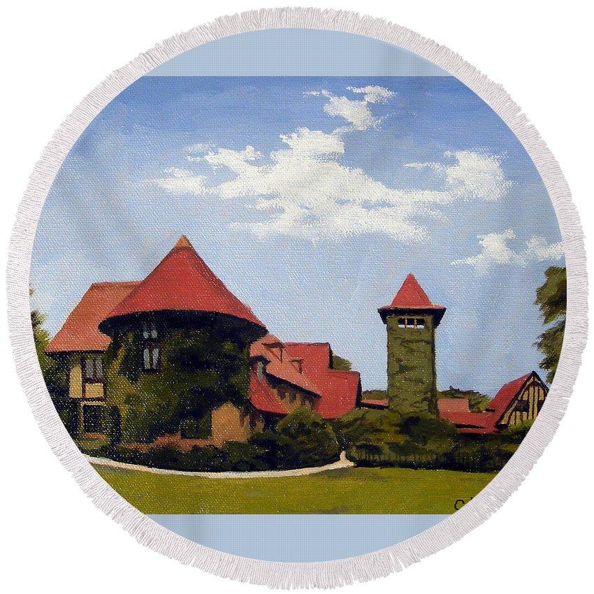 Christine Hopkins Round Beach Towel featuring the painting Saint Clements Castle Portland Connecticut by Christine Hopkins