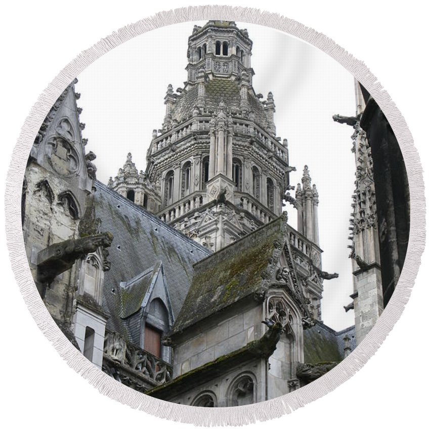 Cathedral Round Beach Towel featuring the photograph Saint Gatien's Cathedral Steeple by Christiane Schulze Art And Photography