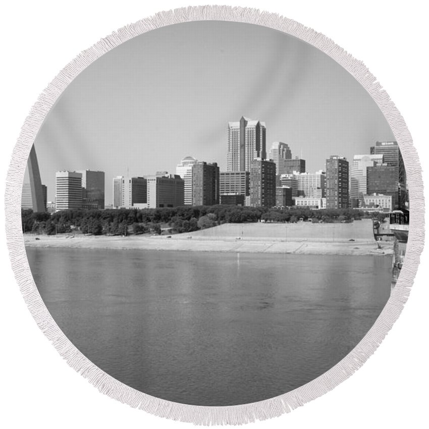 Black And White Round Beach Towel featuring the photograph Saint Louis Mo by Bill Cobb