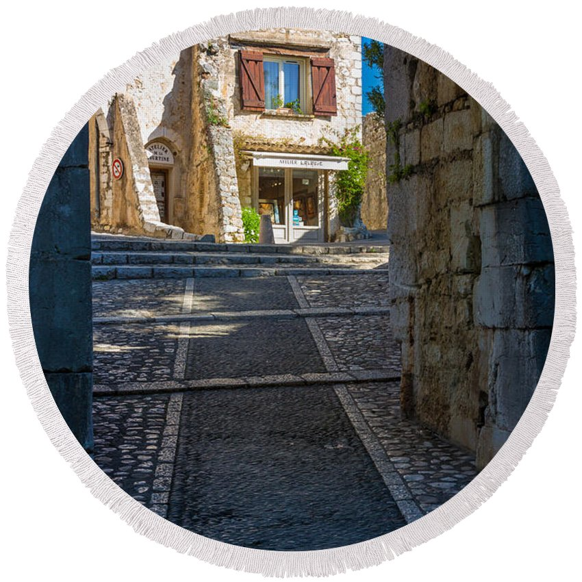 Alpes-maritimes Round Beach Towel featuring the photograph Saint Paul Entrance by Inge Johnsson