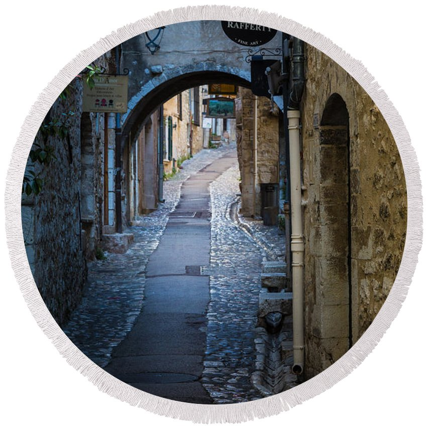 Cote D'azur Round Beach Towel featuring the photograph Saint Paul Rue Grande by Inge Johnsson