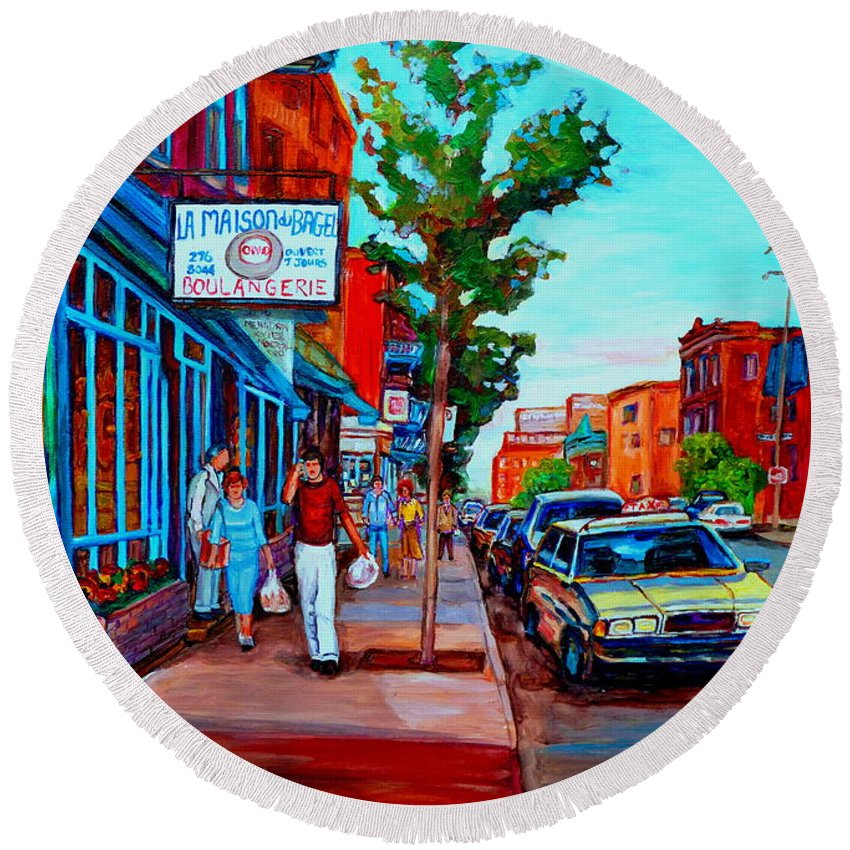 St.viateur Bagel Shop Round Beach Towel featuring the painting Saint Viateur Bagel Shop by Carole Spandau