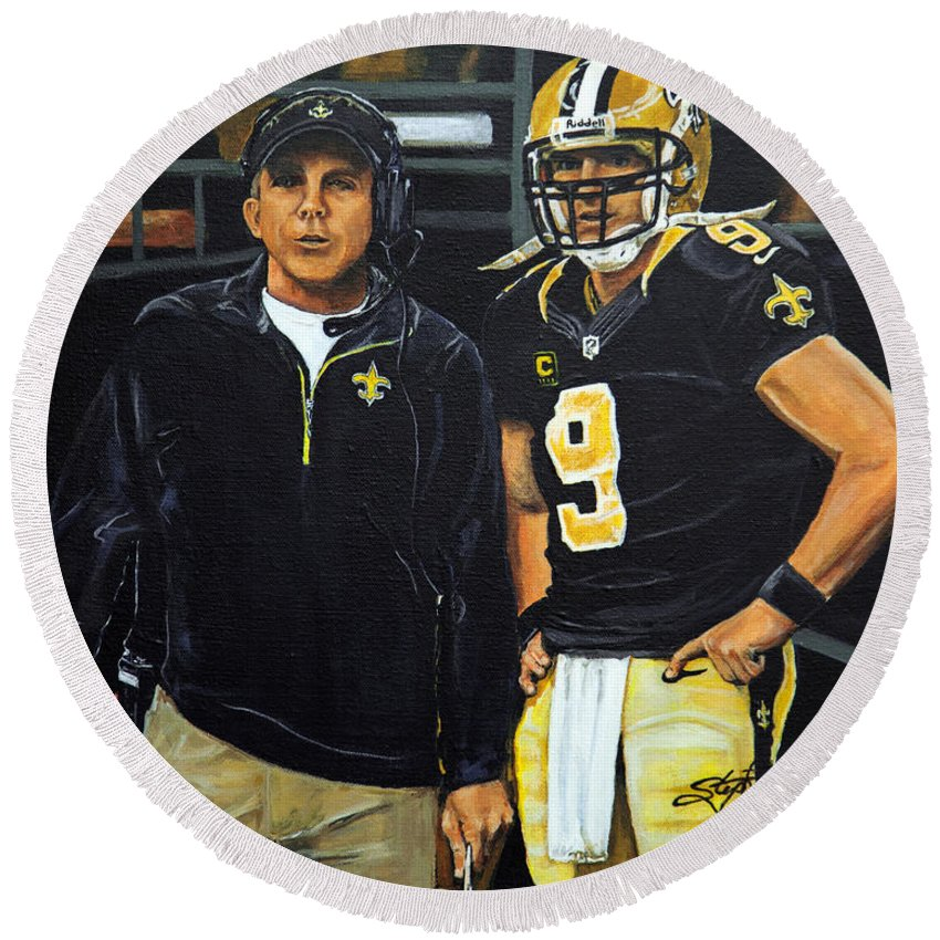 New Orleans Saints Round Beach Towel featuring the painting Saints Dynamic Duo by Stephen Broussard