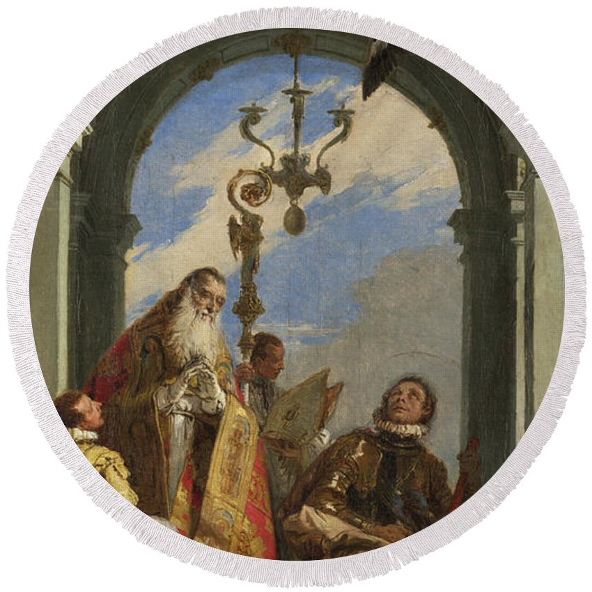 Giovanni Battista Tiepolo Round Beach Towel featuring the painting Saints Maximus And Oswald by Giovanni Battista Tiepolo