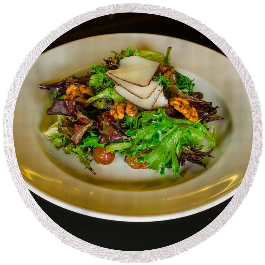 Salad Round Beach Towel featuring the photograph Salad by Nikolai Martusheff