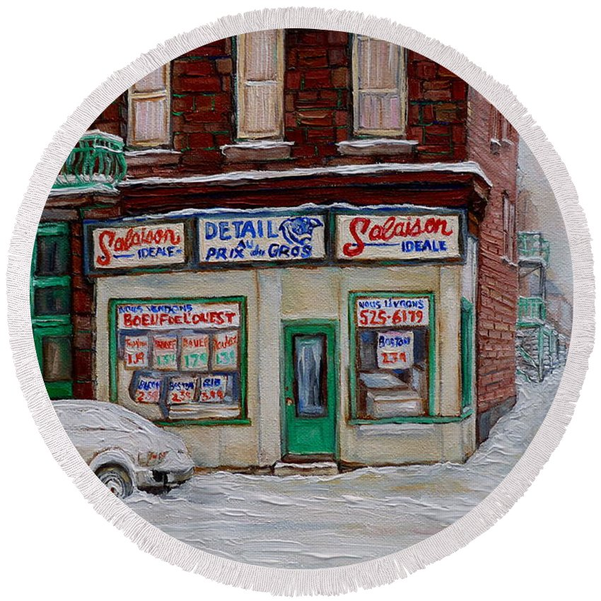 Montreal Round Beach Towel featuring the painting Salaison Ideale Montreal by Carole Spandau