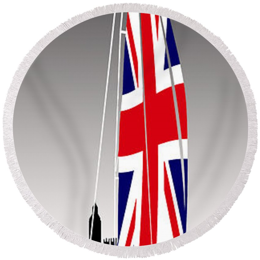England Round Beach Towel featuring the painting Sail On Brittania by Peter Stevenson