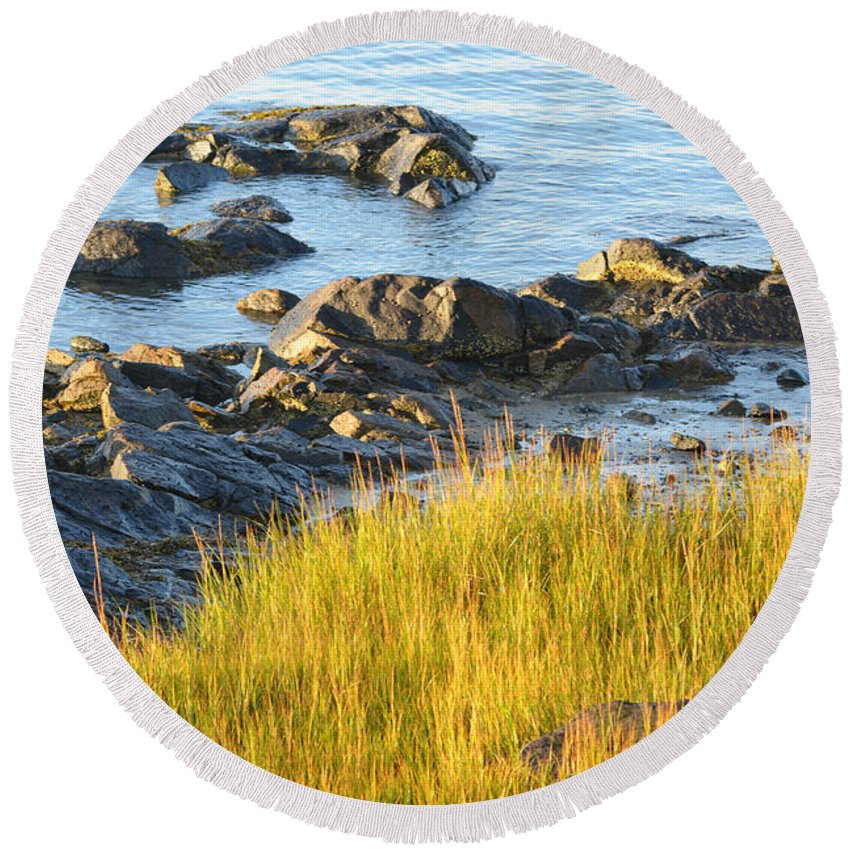 Grass Round Beach Towel featuring the photograph Salem Coastline by Toby McGuire