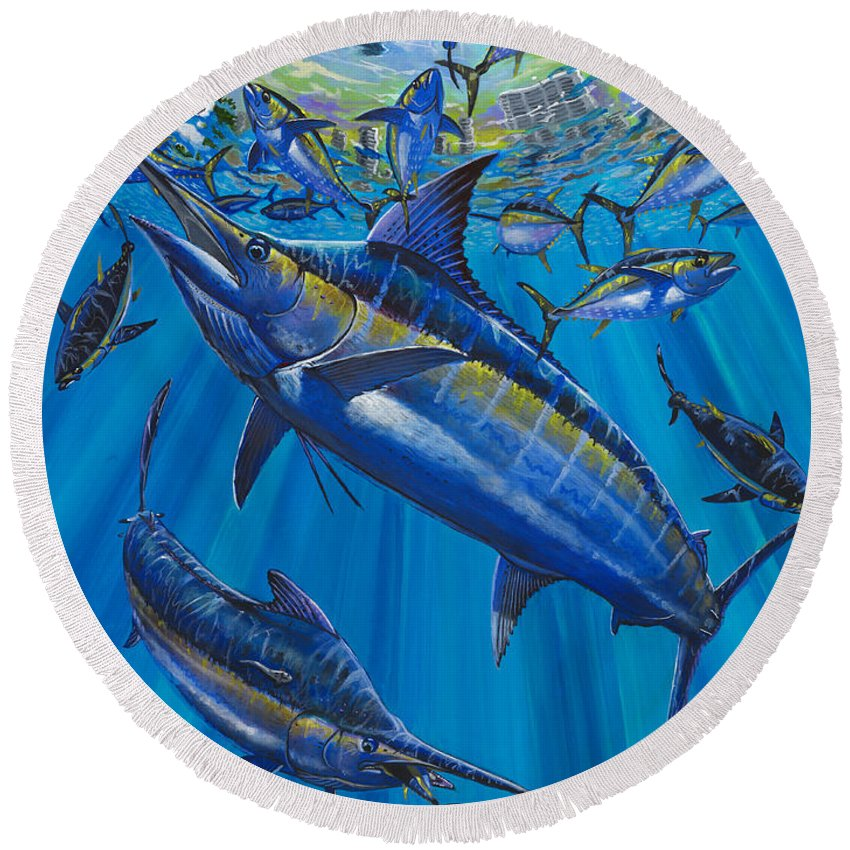 Marlin Round Beach Towel featuring the painting Salinas Off006 by Carey Chen