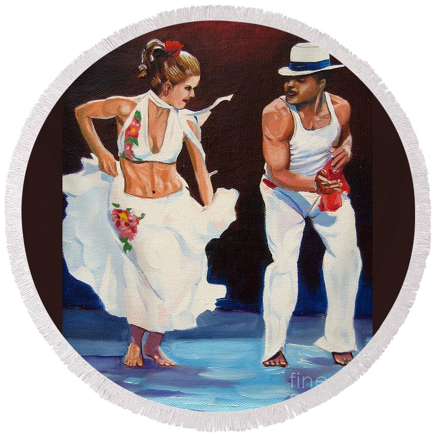 Dancing Round Beach Towel featuring the painting Salsa by Jose Manuel Abraham