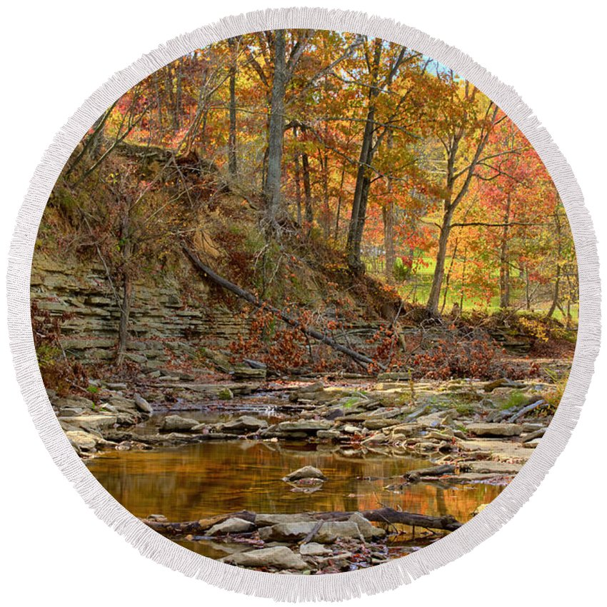 Autumn Round Beach Towel featuring the photograph Salt Creek by Jack R Perry