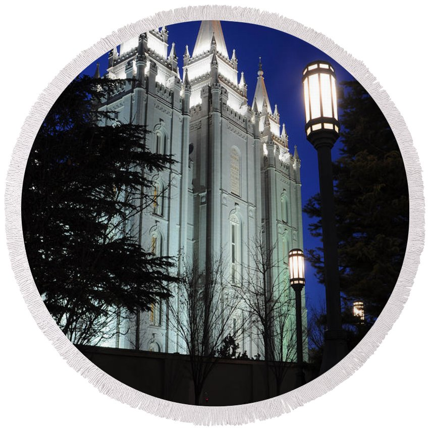 Mormon Round Beach Towel featuring the photograph Salt Lake Mormon Temple At Night by Gary Whitton