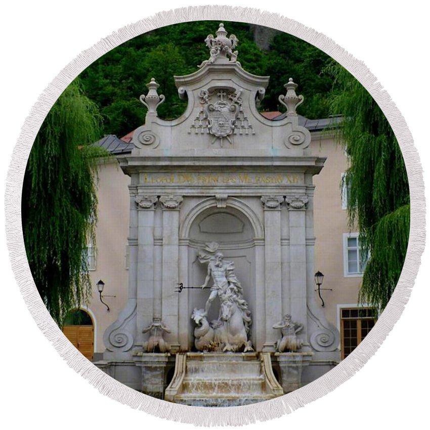 Salzburg Round Beach Towel featuring the photograph Salzburg Castle With Fountain by Carol Groenen