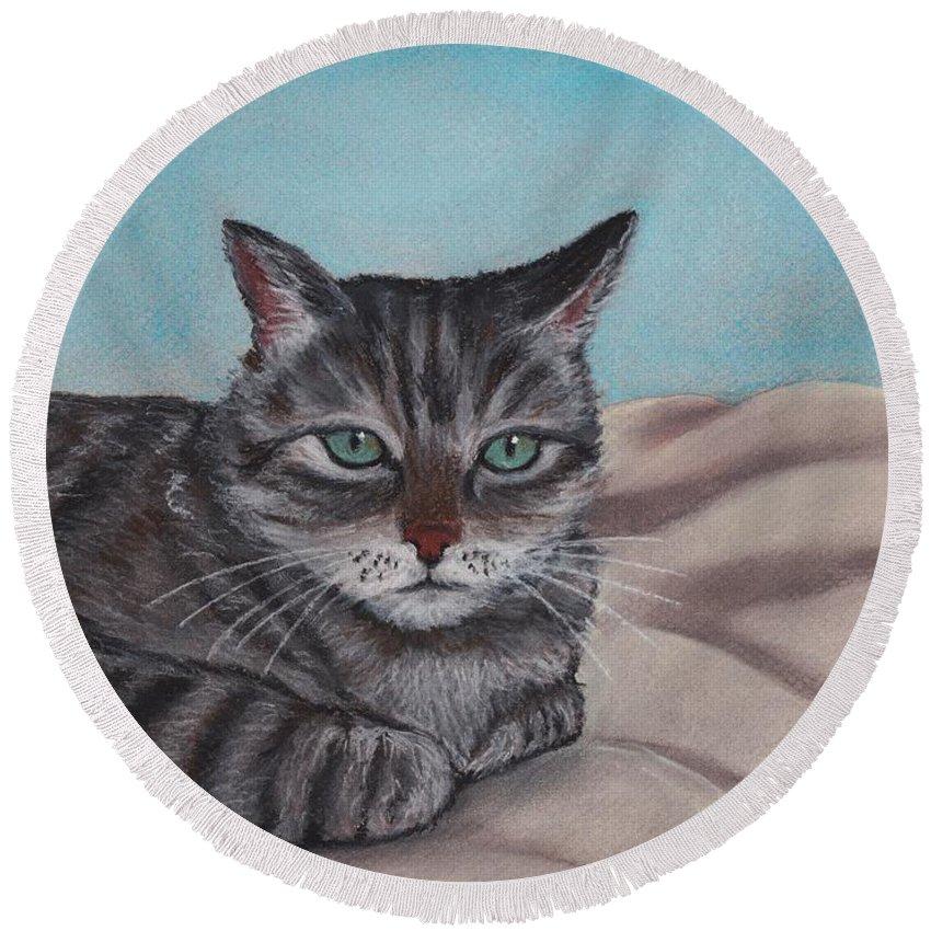 Cat Round Beach Towel featuring the painting Sam by Anastasiya Malakhova