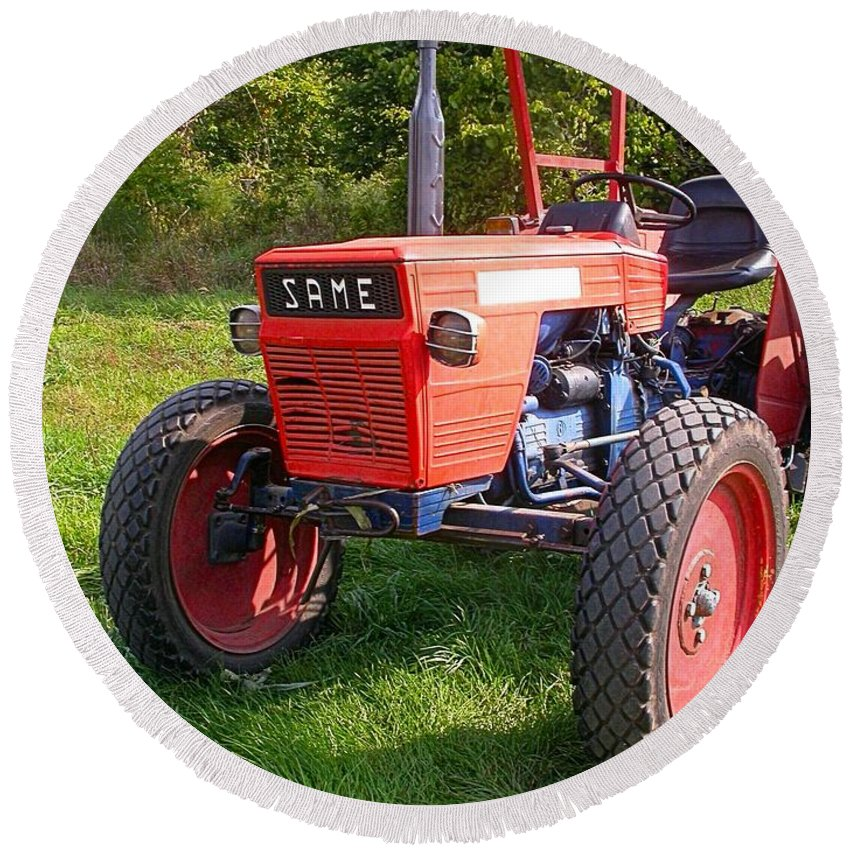Farm Tractor Round Beach Towel featuring the photograph Same by Cynthia Wallentine