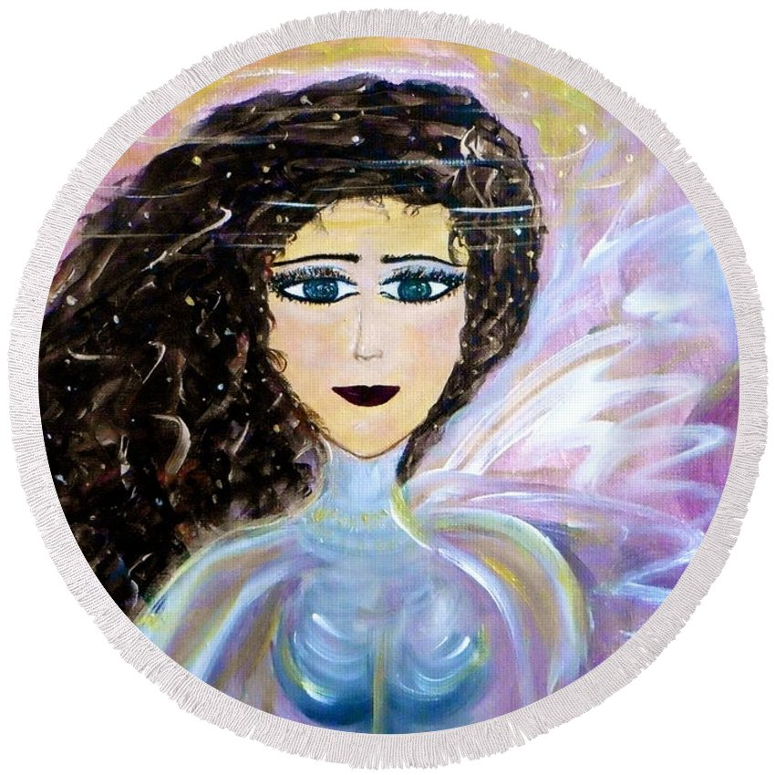 Whimsical Female Image Round Beach Towel featuring the painting Sammie Says by Sara Credito