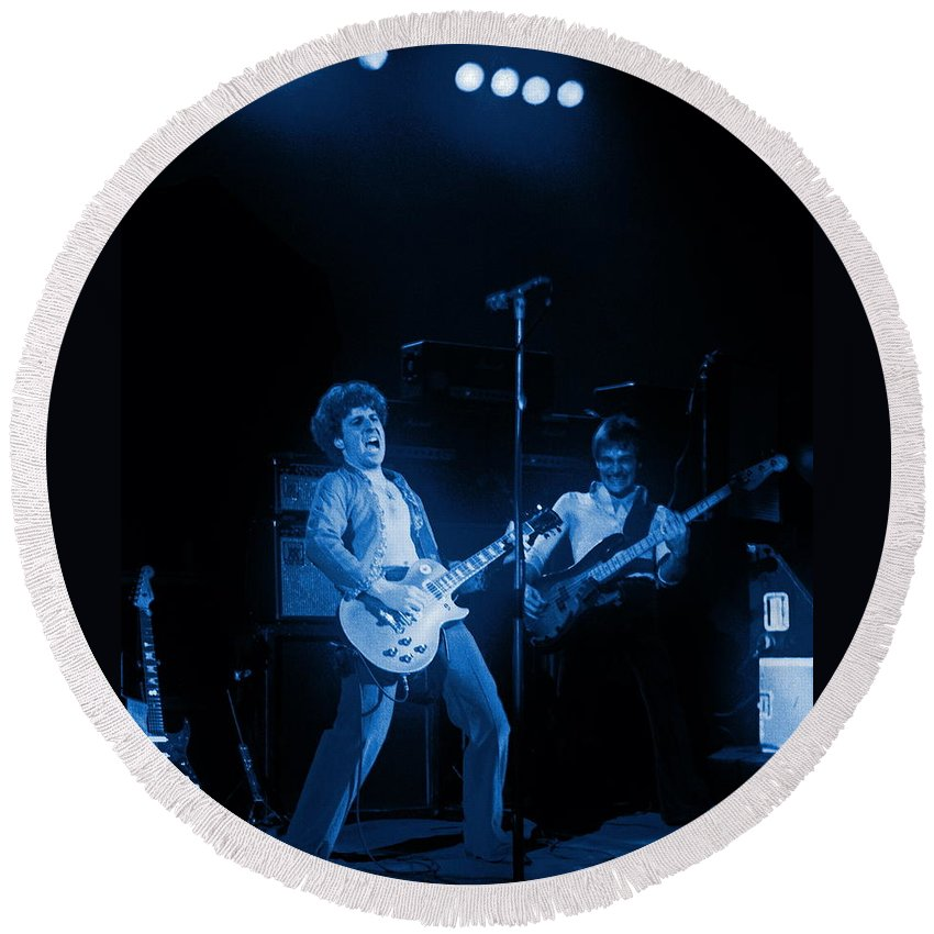Sammy Hagar Round Beach Towel featuring the photograph Sammy Plays The Blues In Spokane In 1977 by Ben Upham