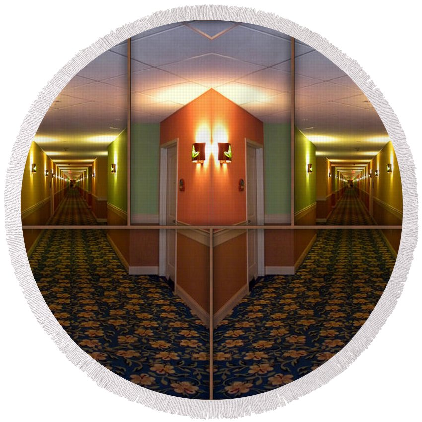 Hallway Round Beach Towel featuring the photograph Sample Paneled Hallway Mirrored Image by Thomas Woolworth