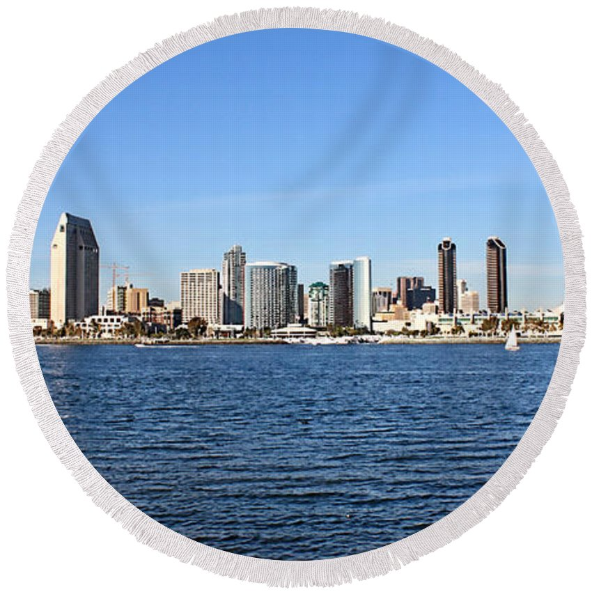 San Diego Round Beach Towel featuring the photograph San Diego Ca Harbor Skyline by Tommy Anderson