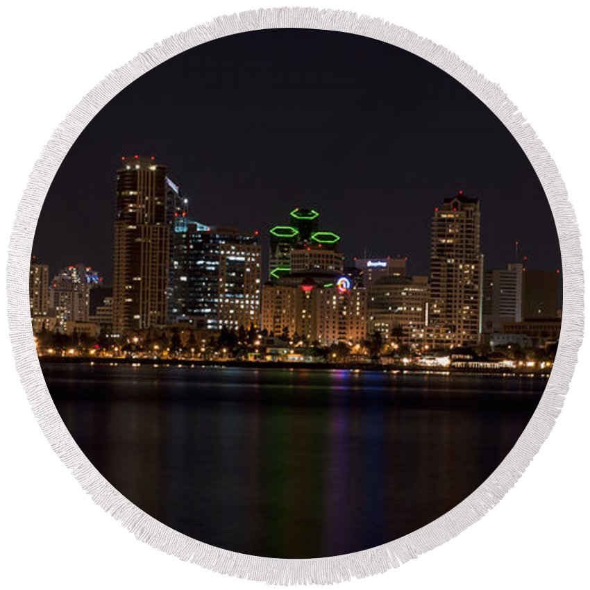Panoramic Round Beach Towel featuring the photograph San Diego California by Anthony Totah