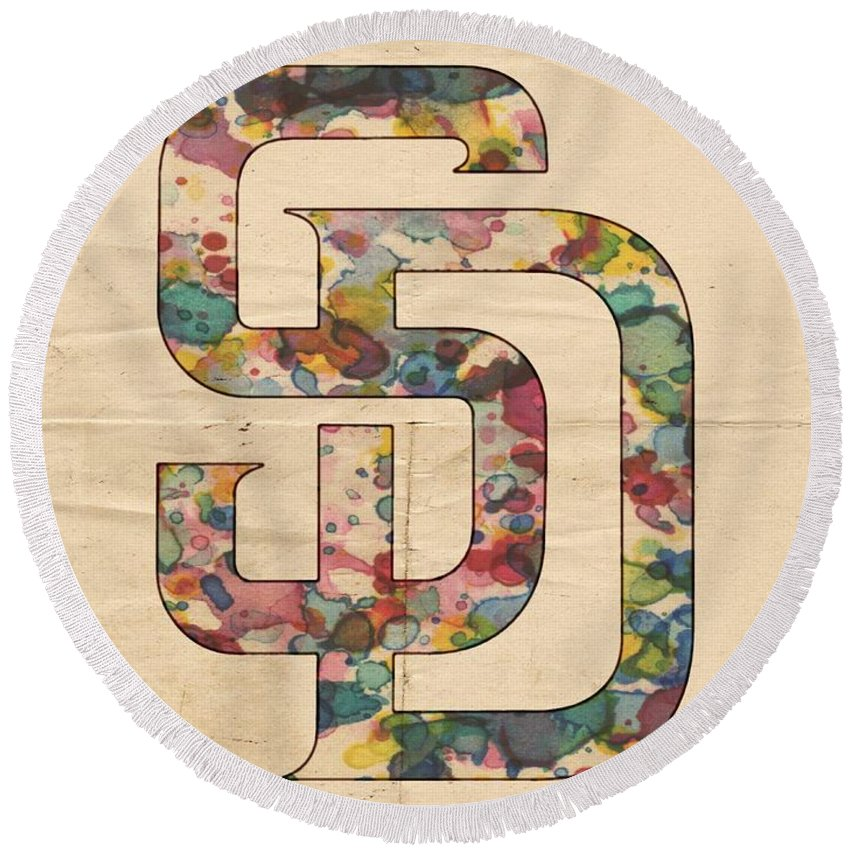 San Diego Padres Round Beach Towel featuring the painting San Diego Padres Logo Vintage by Florian Rodarte