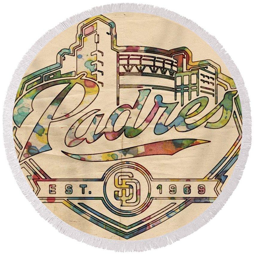 San Diego Padres Round Beach Towel featuring the painting San Diego Padres Memorabilia by Florian Rodarte